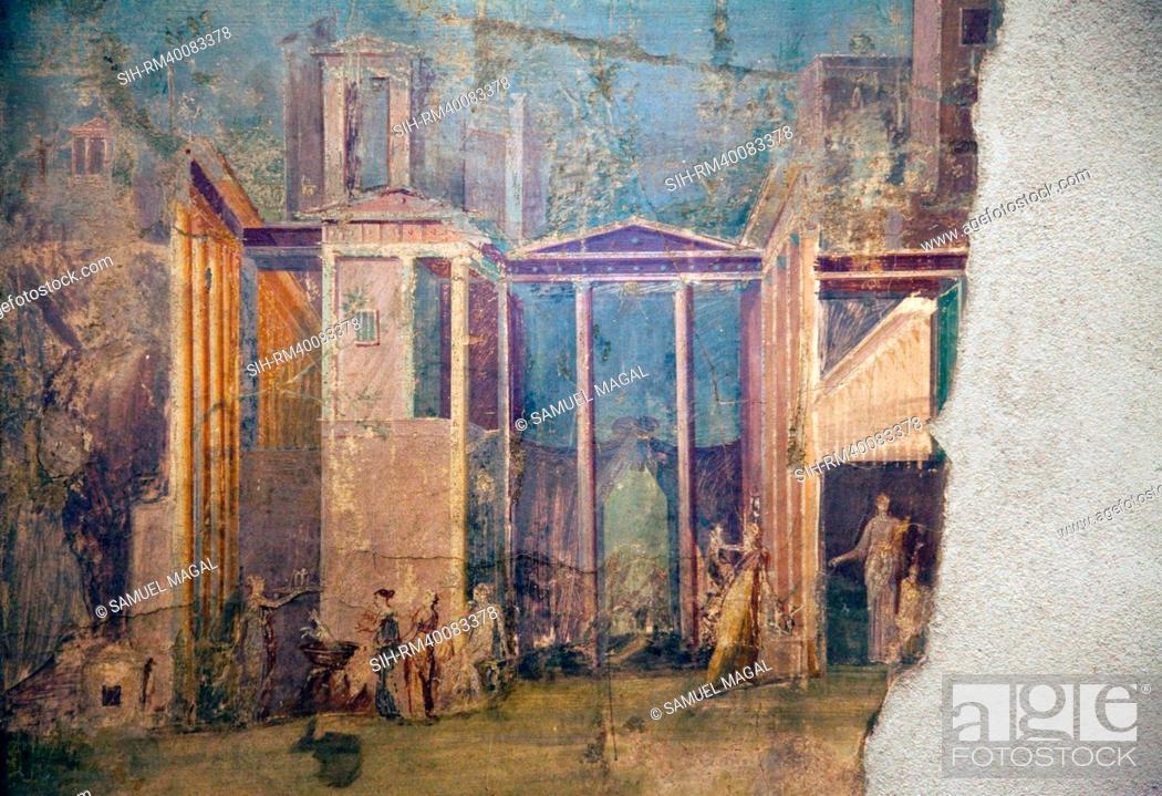 Stock Photo: Italy, Naples, Naples Museum, Pompeii, House of the Group of Vases VI 13, 2, Medea and Peliadi.