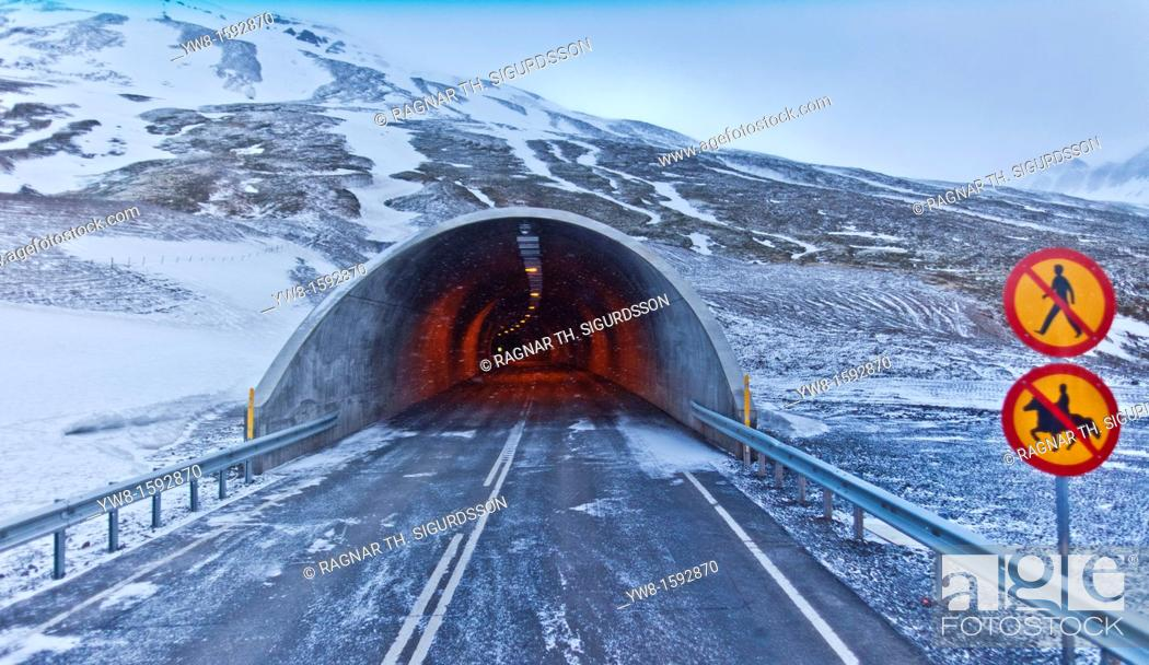 Stock Photo: Hedinsfjardargong Tunnel, Hedinsfjordur, Northern Iceland.