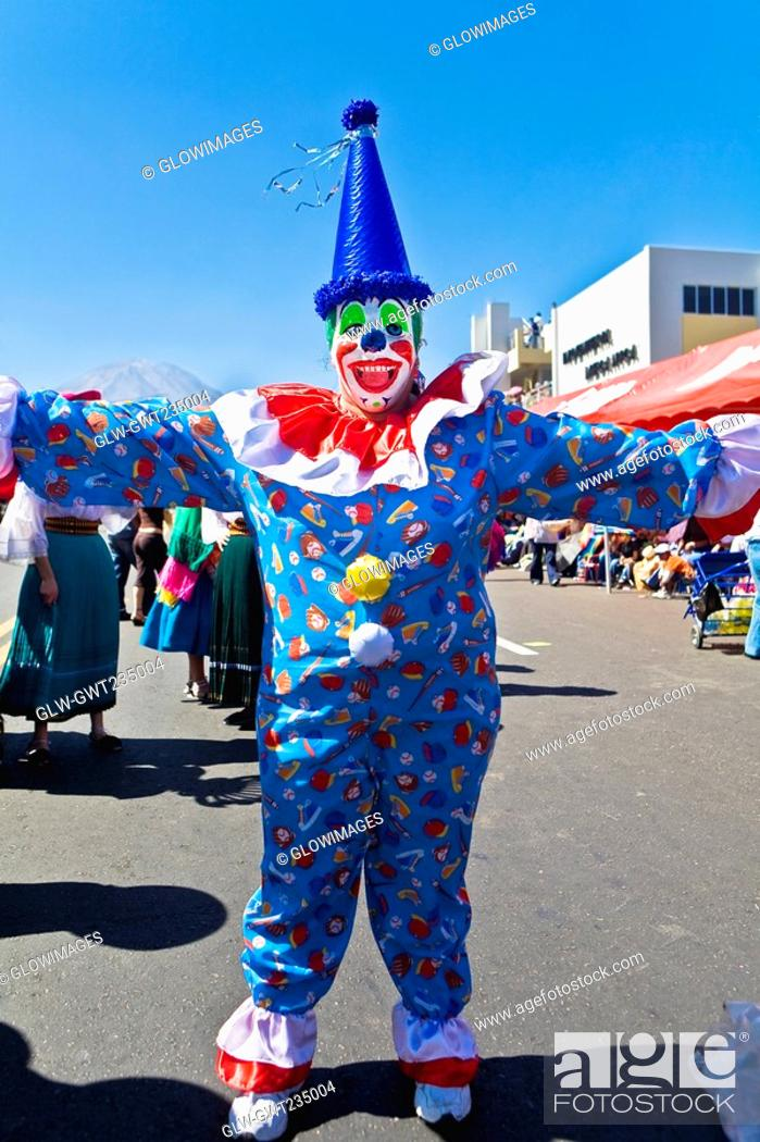 Stock Photo: Clown dancing in the street, Arequipa, Peru.