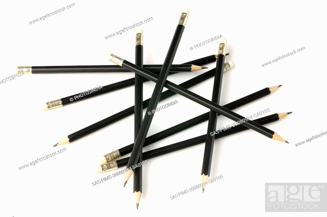 Stock Photo: High angle view of pencils.