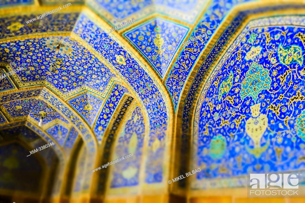 Stock Photo: Walls with polichrome tiles. Shah Mosque. Naghsh-e Jahan Square. Isfahan, Iran. Asia.