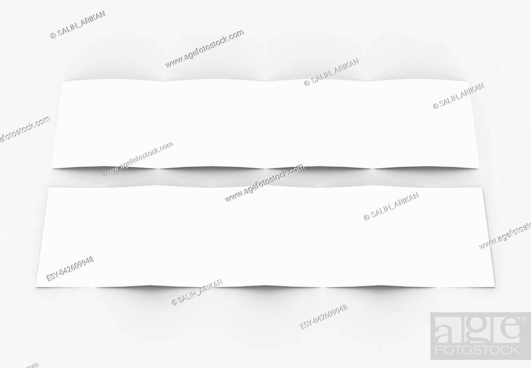 Stock Photo: Square four folded - 4-Fold - brochure mock-up isolated on soft gray background. 3D illustrating.