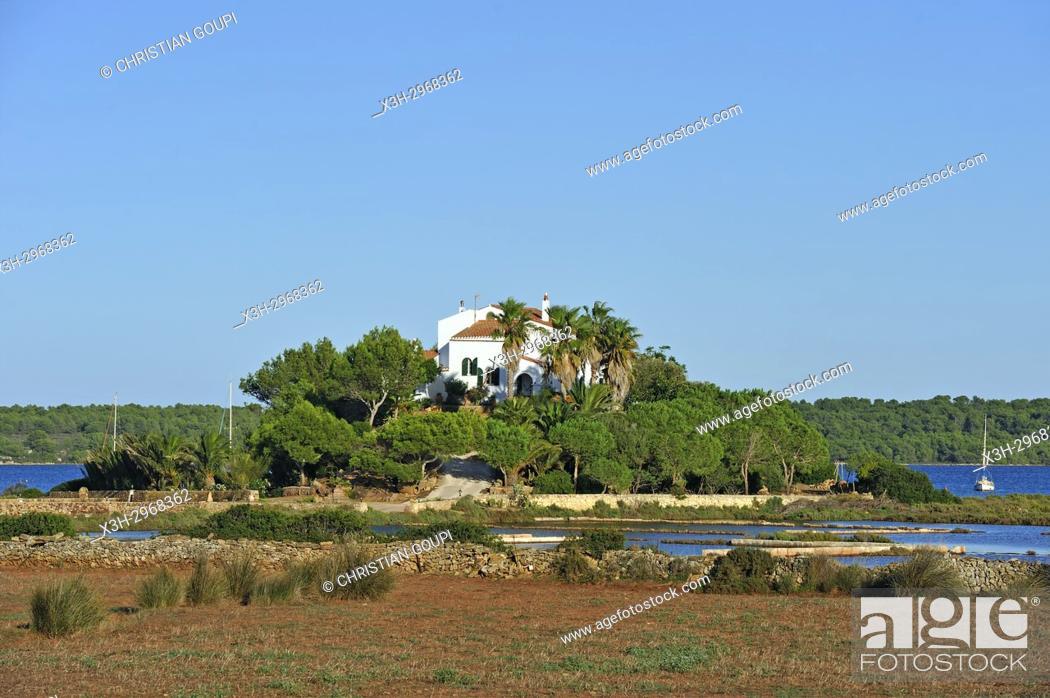 Stock Photo: villa on an inland near Fornells, Menorca, Balearic Islands, Spain, Europe.