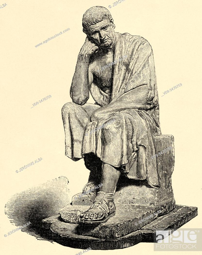 Stock Photo: Aristotle was a philosopher, polymath and scientist born in the city of Estagira, north of Ancient Greece. He is considered alongside Plato.