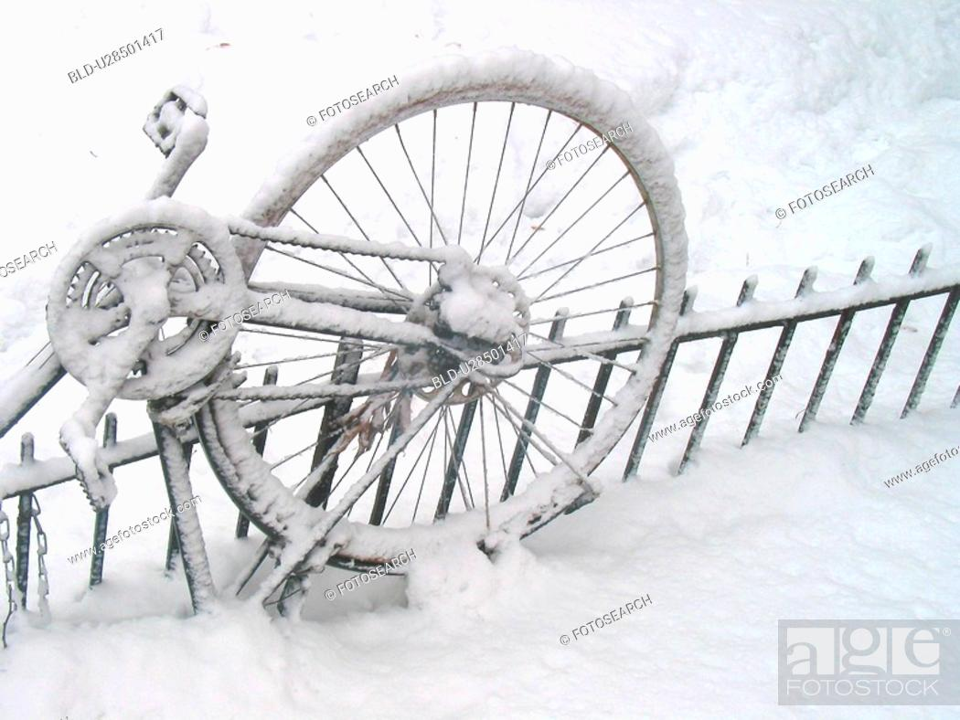 Stock Photo: bicycle, bicycles, bike, cold.