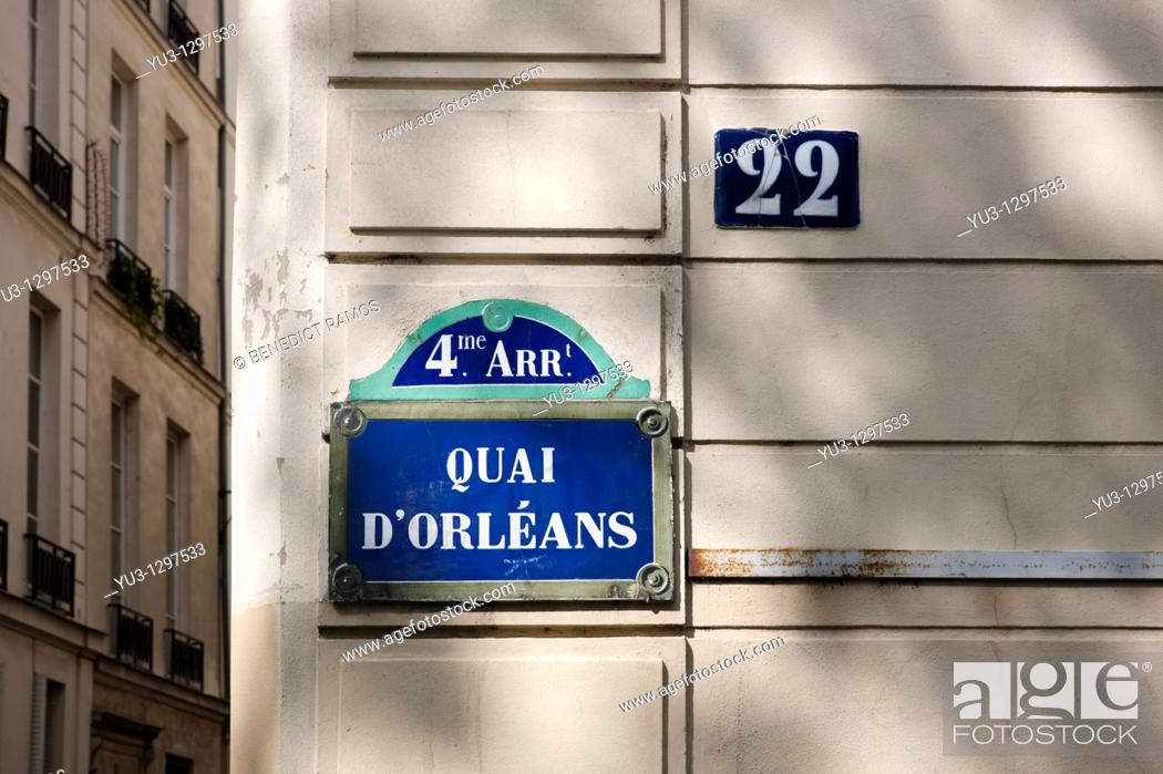 Stock Photo: Quai d'Orleans sign, Paris, France.