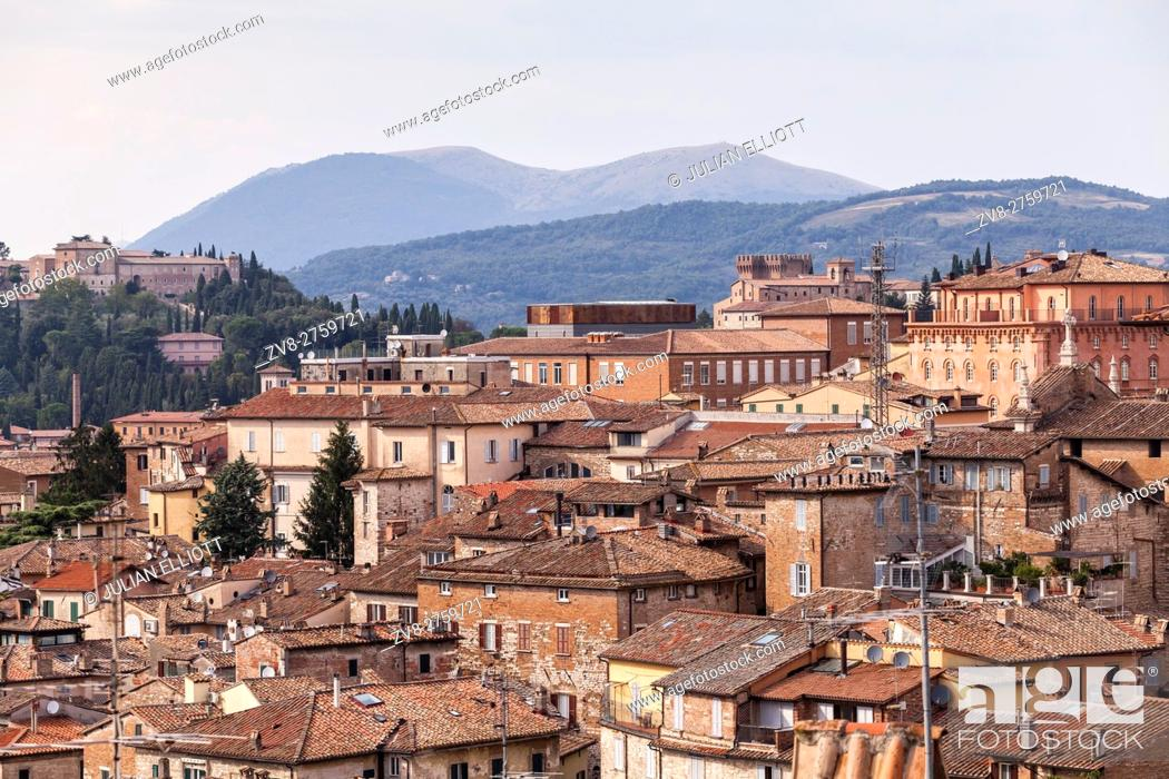 Stock Photo: The rooftops of Perugia's historic centre.