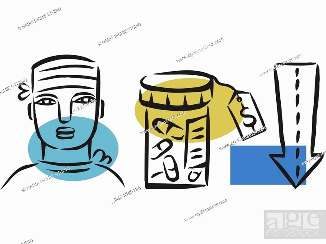 Stock Photo: Illustration of cheaper medicine.