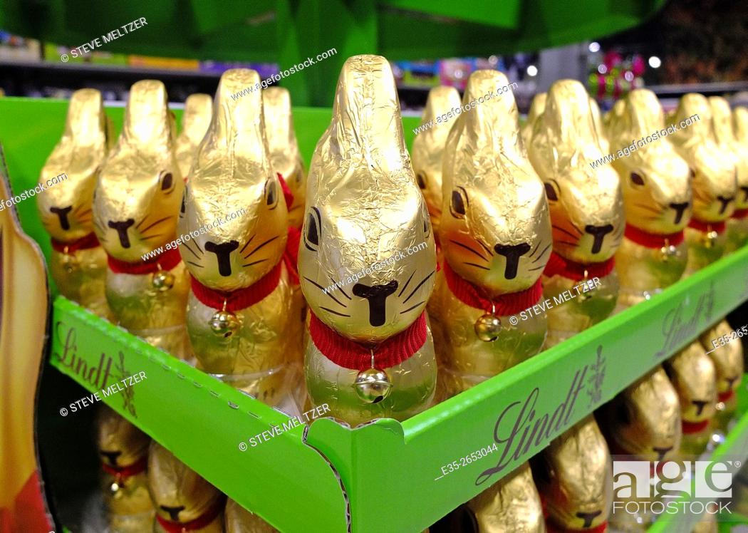 Stock Photo: Packaged chocolate Easter bunnies.