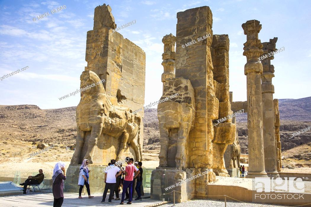 Stock Photo: The Gate of All Nations or Gate of Xerxes. Persepolis ancient city ruins. Iran, Asia.
