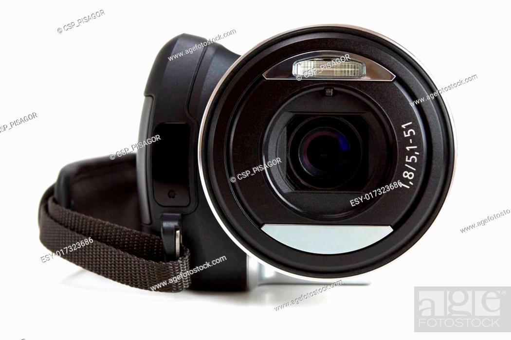 Stock Photo: Mini camcorder isolated on white.