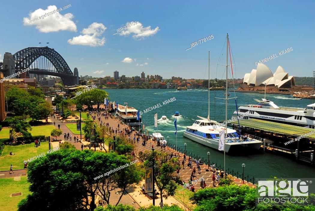 Stock Photo: Harbour Bridge and the Sydney Opera House, Circular Quay, Sydney Cove, Sydney, New South Wales, Australia.