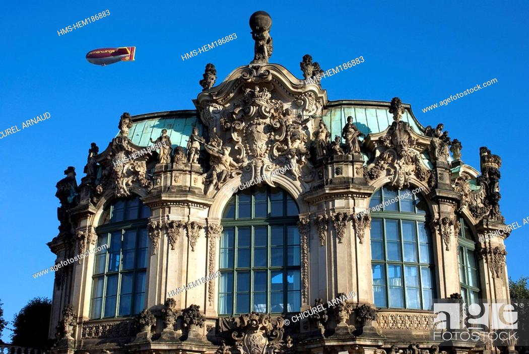 Stock Photo: Germany, Saxony State, Dresden, Rampart Pavilion in the Zwinger Palace airship in the background.