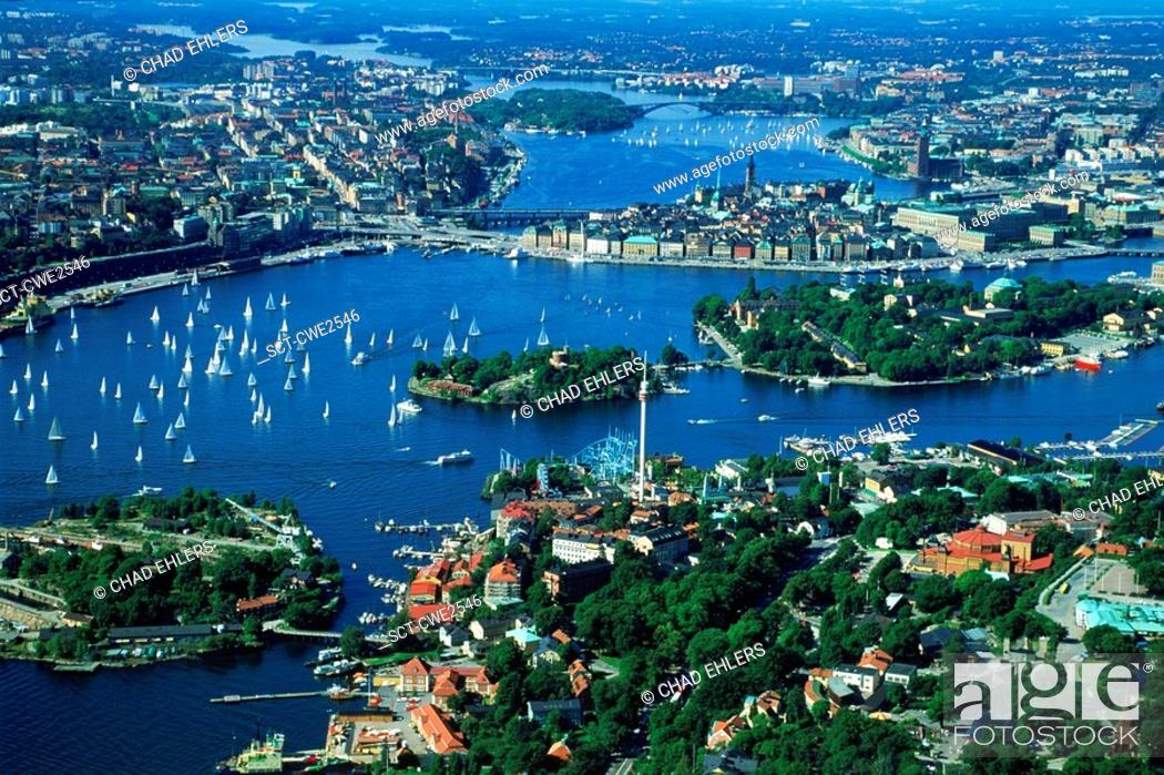 Stock Photo: Overview of Stockholm with sailboats from above Djurgarden.