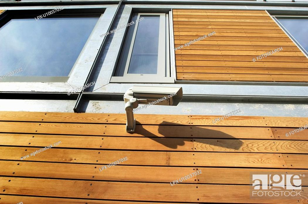 Stock Photo: Example of a new property development built with sustainable material - timber cladding.