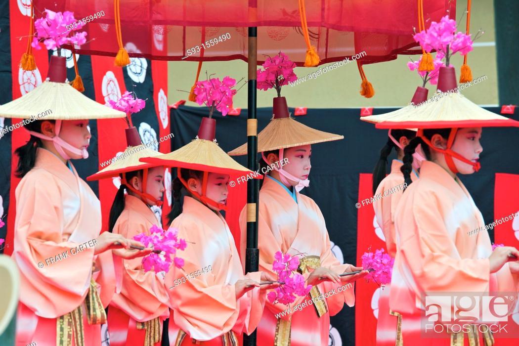 Stock Photo: Dancers taking part in the Hanezu Odori.