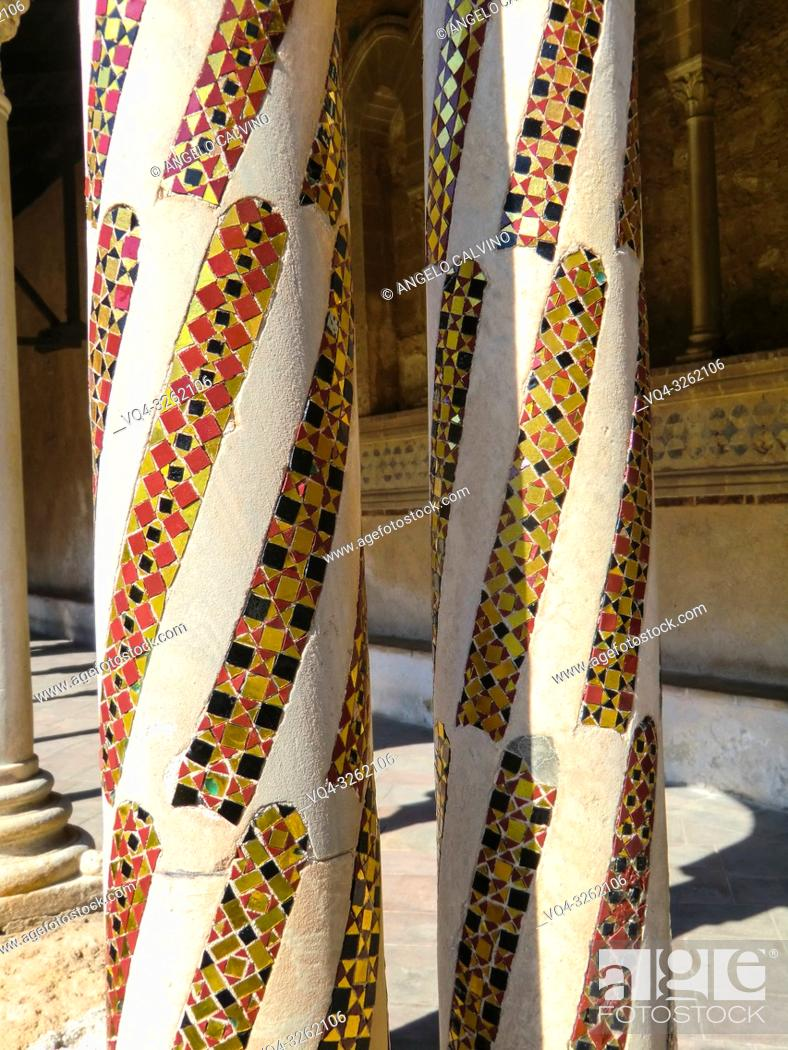 Stock Photo: Palermo, Cathedral of Monreale, Colorful Cloister Columns, Sicily, Italy.
