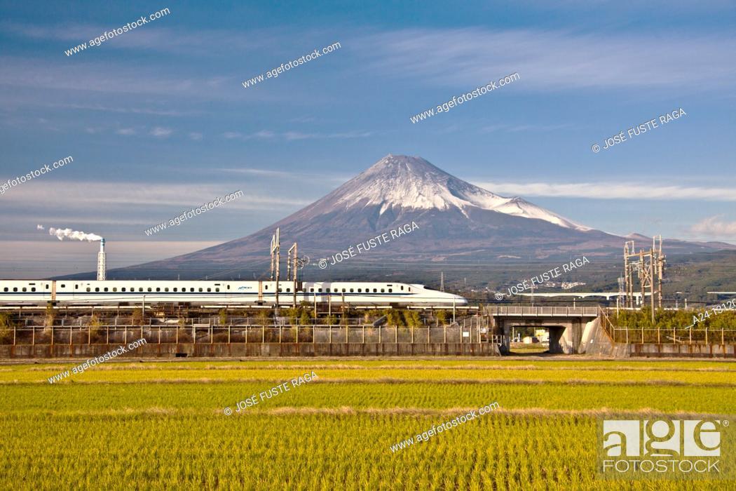 Stock Photo: Japan Nov 2010 , Mount Fuji and the Bullet Train.
