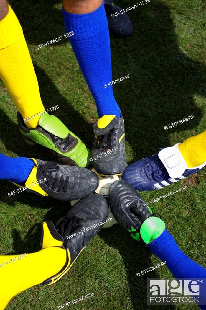Stock Photo: Kicker feet on ball.