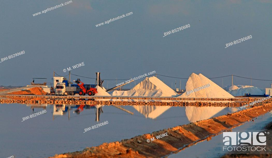 Stock Photo: salt production of a saline, Spain, Sanlucar de Barrameda.