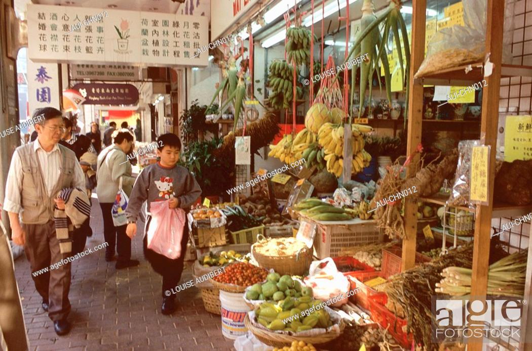 Stock Photo: Hong-Kong - Marche quartier de Mongkok a Kowloon.
