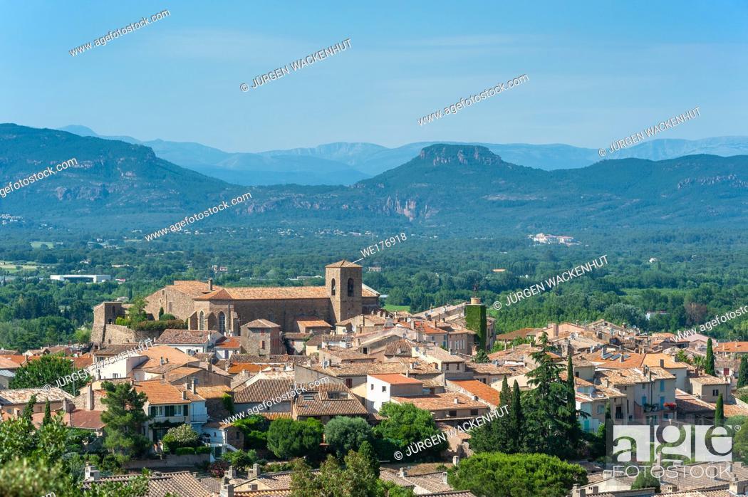 Stock Photo: Cityscape with the church Saint-Pierre-Saint-Paul, Roquebrune-sur-Argens, Var, Provence-Alpes-Cote d`Azur, France, Europe.