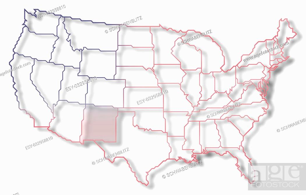 Imagen: Political map of United States with the several states where New Mexico is highlighted.