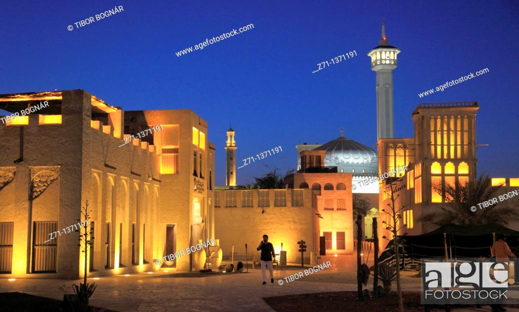 Stock Photo: United Arab Emirates, Dubai, Bastakia, Ruler's Court, Grand Mosque,.