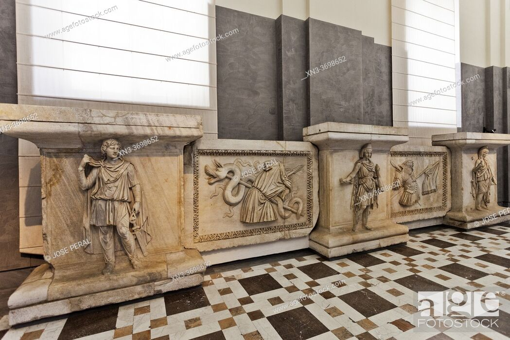 Stock Photo: Farnese excavations, The Reliefs from the Hadrianeum or Temple of Hadrian, Archaeological Museum of Naples, Naples city, Campania, Italy, Europe.