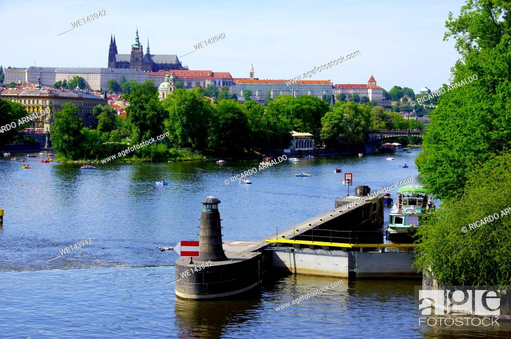 Stock Photo: The Vultava River, Prague, on a Sunday afernoon.