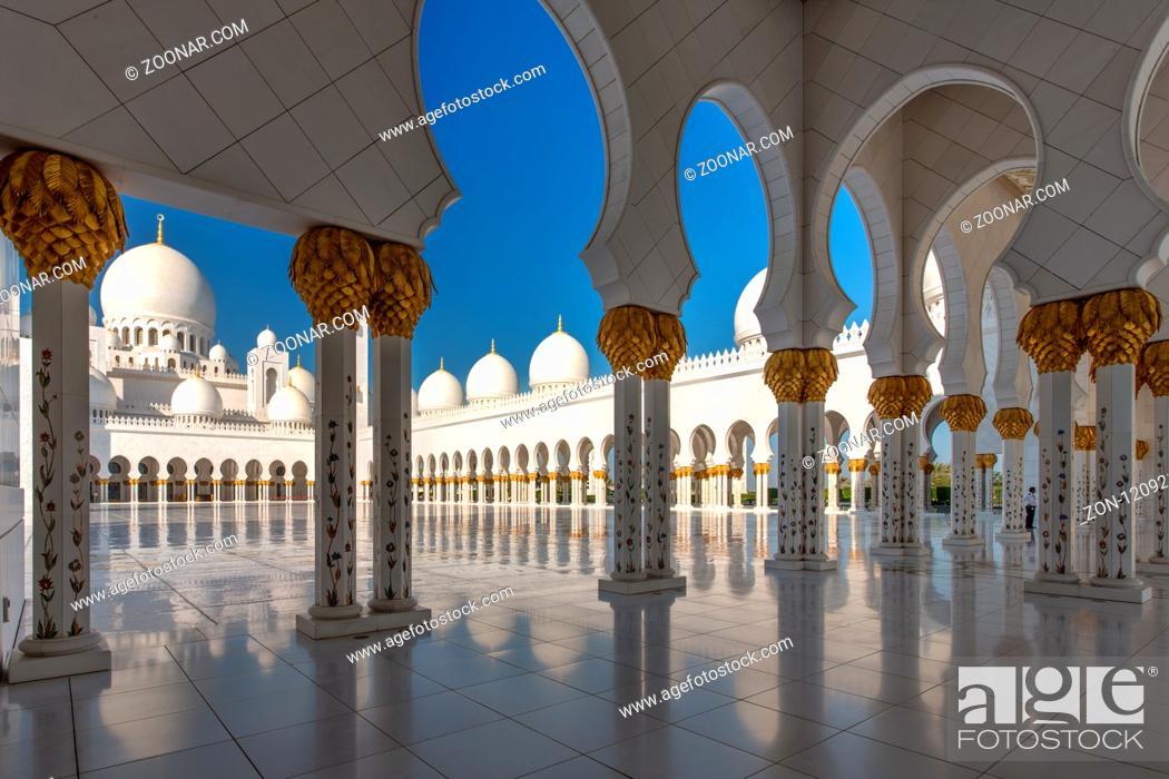 Stock Photo: Sheikh Zayed Grand Mosque. Scheich-Zayid-Moschee. Abu Dhabi.