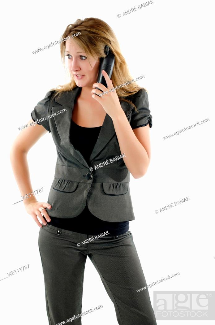 Stock Photo: Attractive business woman talking on the phone.