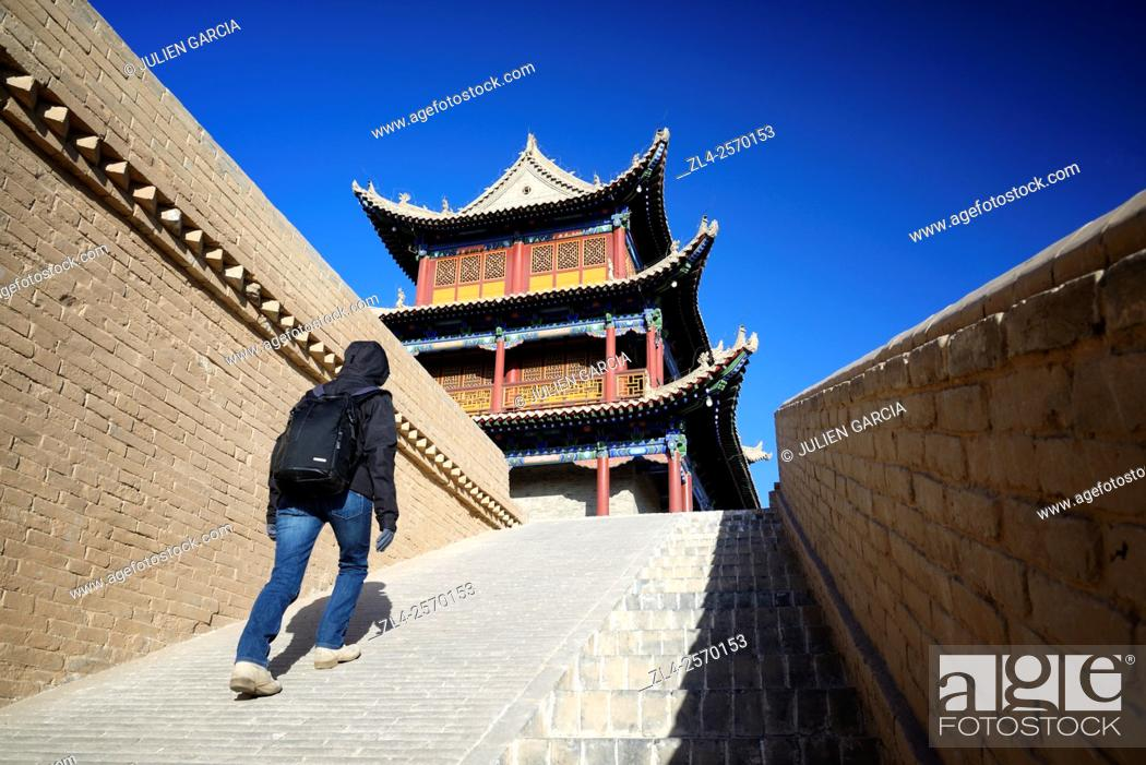 Stock Photo: China, Gansu Province, Jiayuguan Fortress at the west end of the Great Wall of China, Model Released.