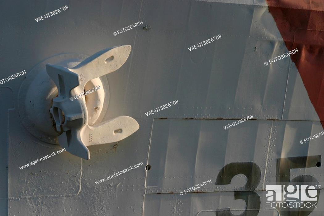 Stock Photo: hull, ship, vessel, anchor, metal, numbered.