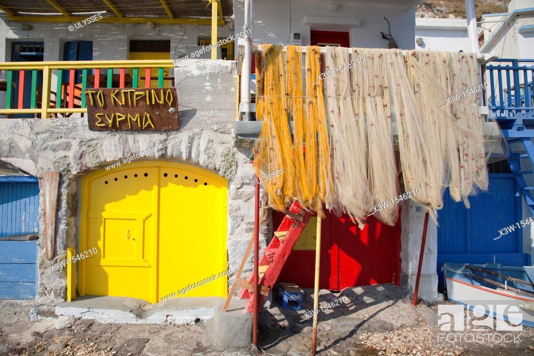 Stock Photo: klima village, milos island, cyclades islands, greece, europe.