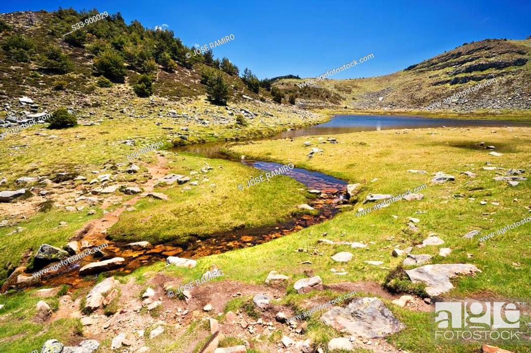 Stock Photo: Laguna Larga en la Sierra de Urbión  Provincia de Soria  Castilla León  España.