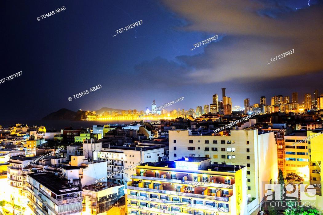 Stock Photo: Midtown of Benidorm, Province of Alicante, Costa Blanca, Western Mediterranean Sea, Southern Spain.