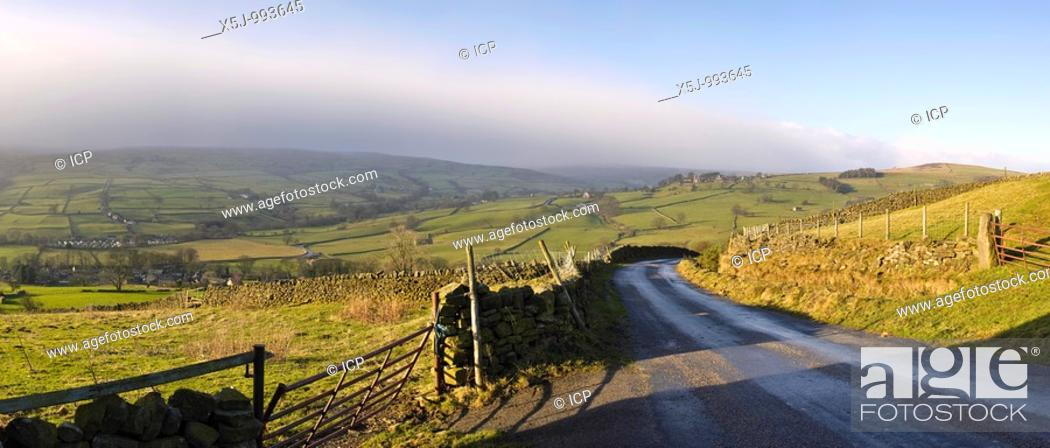 Stock Photo: Rapidly closing weather front over Nidderdale in the Yorkshire Dales, England, UK.