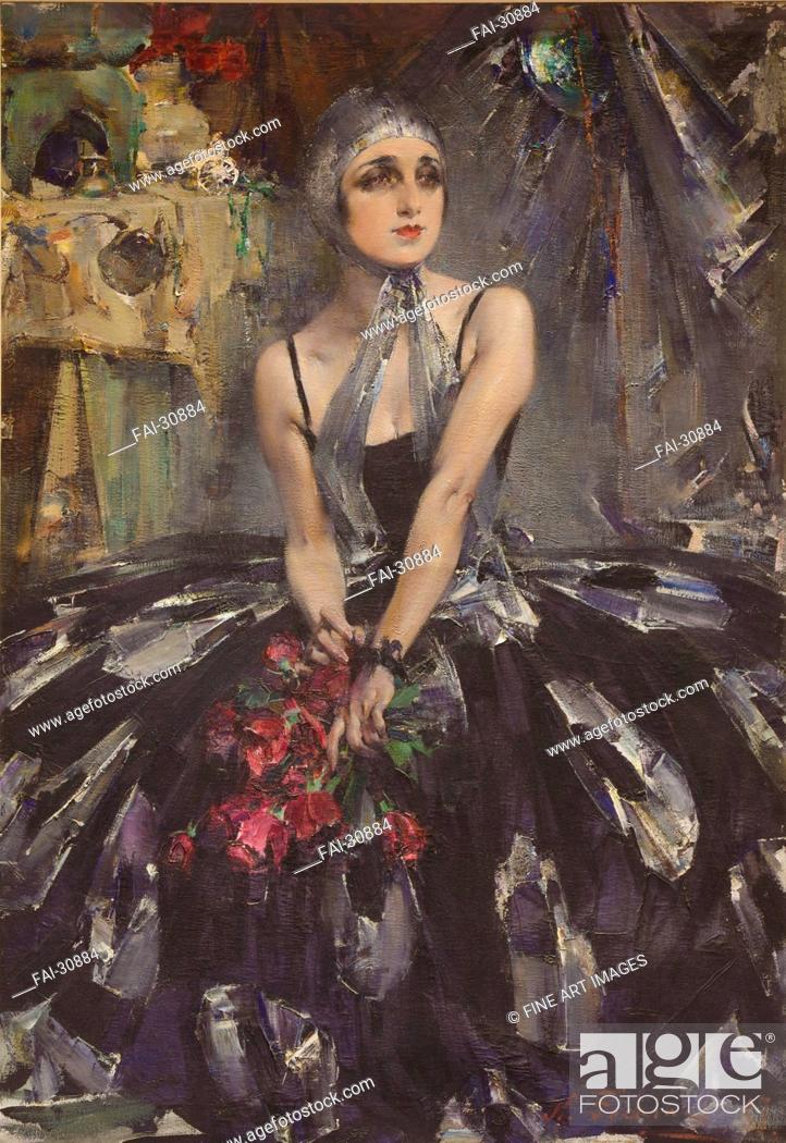 Stock Photo: Portrait of the ballet dancer Vera Fokina (1886-1958) by Feshin, Nikolai Ivanovich (1881-1955)/Oil on canvas/Realism/1927/Russia/Martin Museum of Art.
