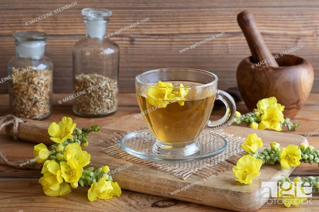 Stock Photo: A cup of herbal tea with fresh mullein flowers on a rustic background.