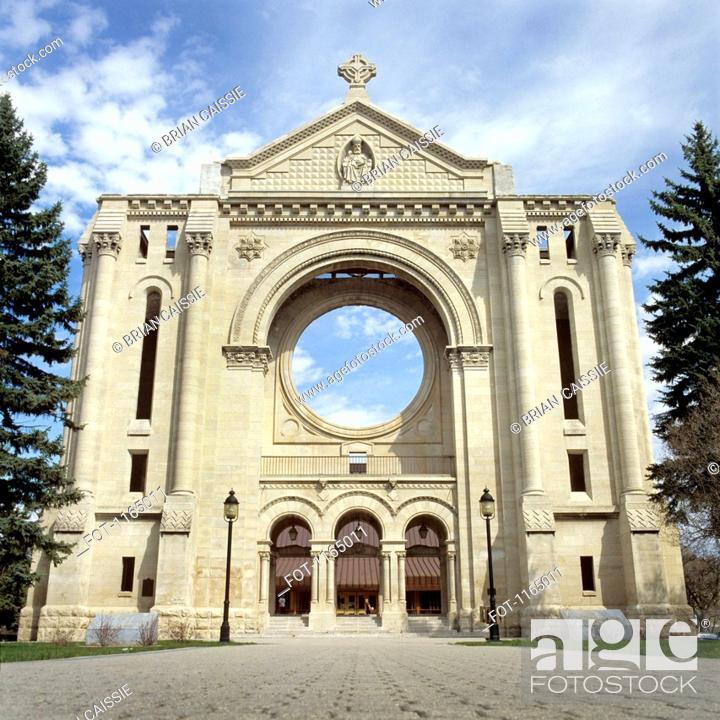 Stock Photo: Saint Boniface Cathedral, Winnipeg, Manitoba, Canada.