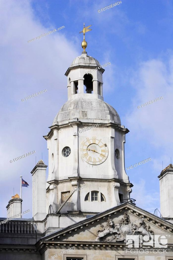 Stock Photo: Clouds, Building, Cloud, Clock, Carving, Architecture.
