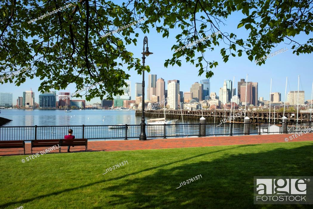 Stock Photo: Piers Park, skyline view from East Boston, Massachusetts, USA.