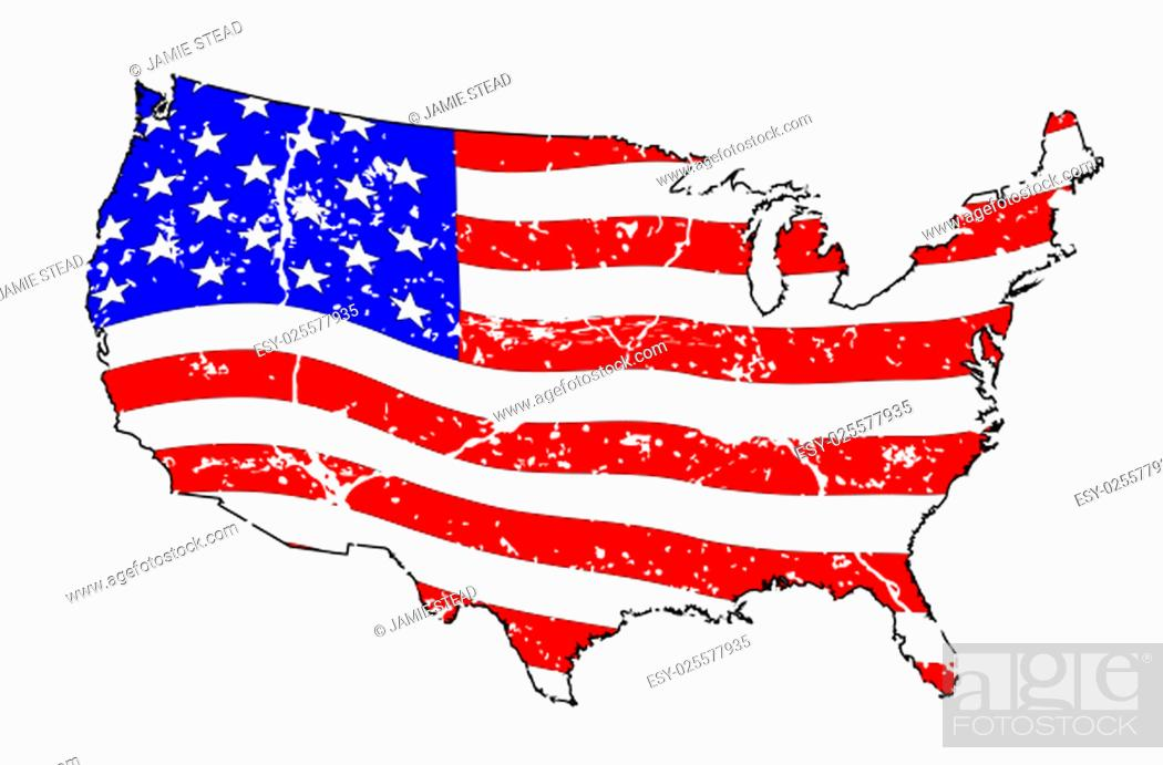 Imagen: An outline silhouette map of The United States of America showing the Stars and Stripes flag beneath over a white background with grunge effect.