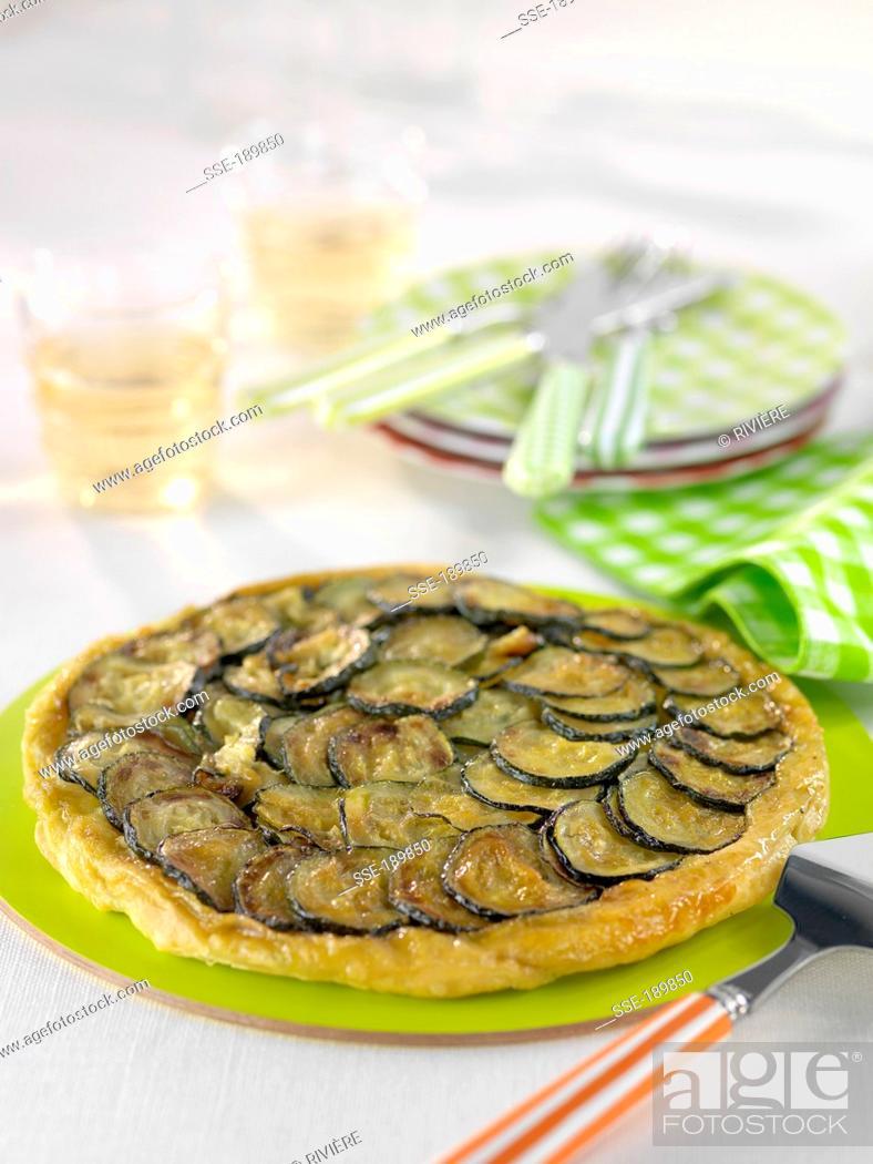 Stock Photo: Zucchini and Kiri cream cheese tatin tart.