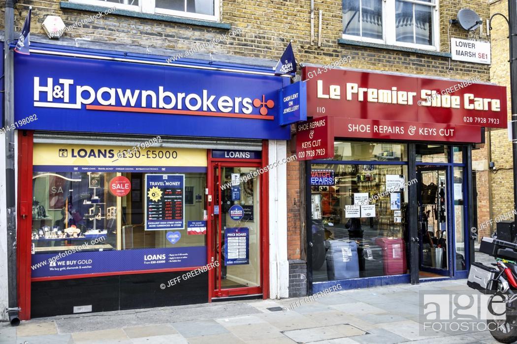 Stock Photo: United Kingdom Great Britain England, London, Lambeth South Bank, Lower Marsh, neighborhood business, store, pawnbrokers, shoe repair,.