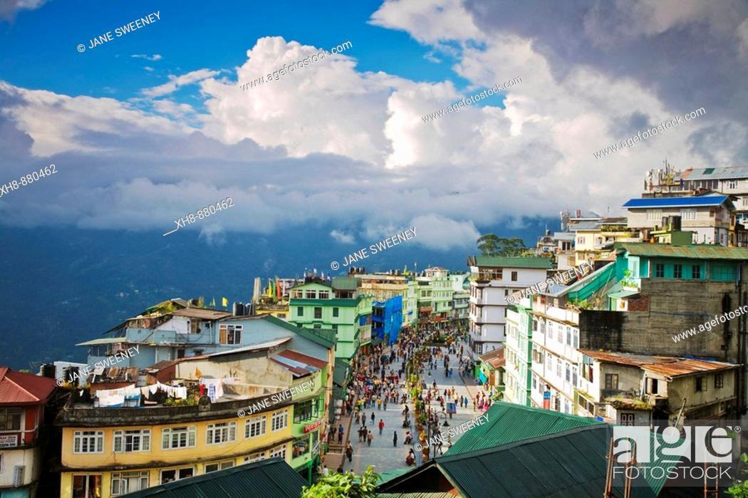Stock Photo: India, Sikkim, Gangtok, Mahatma Gandi Marg - MG Marg, The main shopping street.