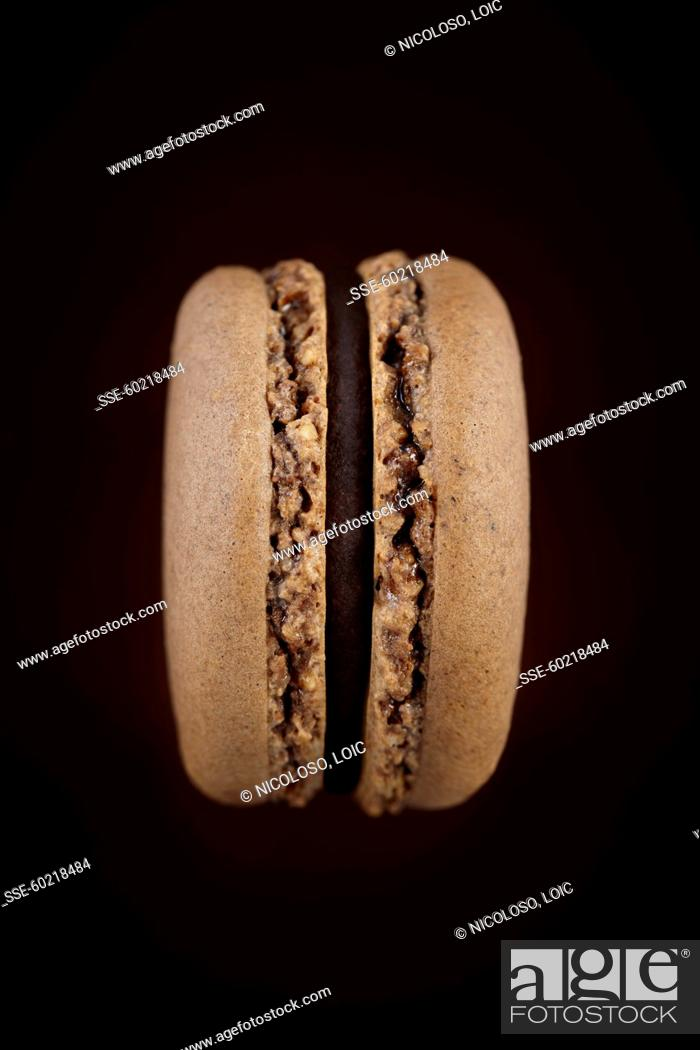 Coffee-chocolate macaroon, Stock Photo, Picture And Rights Managed