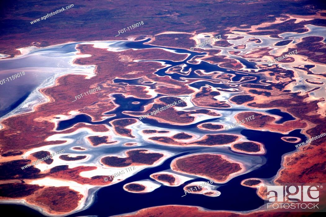 Stock Photo: Aerial view of the Pilbara landscape.