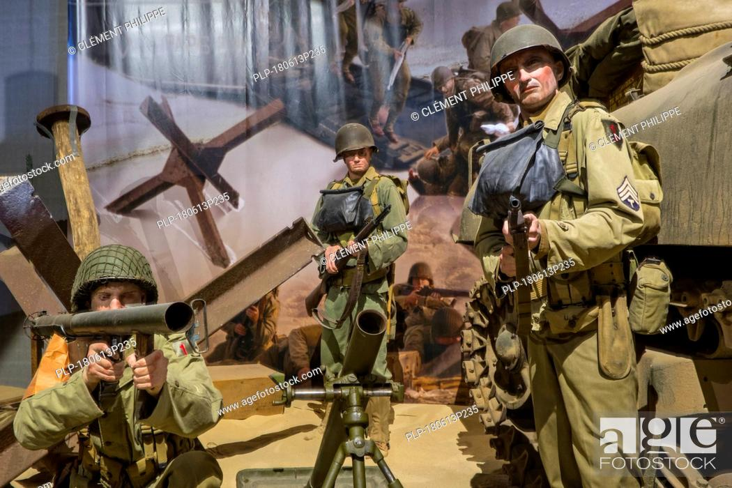 Stock Photo: Diorama showing WW2 US soldiers fighting at Omaha beach in the Overlord Museum about WWII D-Day, Colleville-sur-Mer, Normandy, France.